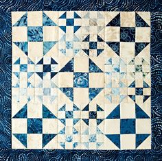 Winter Blues made by Jody Sanders inspired by Hues of Blue by designer Sherri McConnell Quilts and More Winter 2015 Fabrics are Cold Spell prints and batiks from Laundry Basket Quilts for Moda Fabrics| AllPeopleQuilt.com