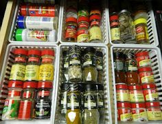 Organize Kitchen Drawers --- My heart just skipped a beat. Although I think I would need a drawer four times this size for all my spices...