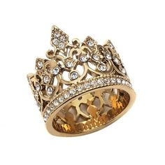 Pave Set Gold Crown Ring - a sterling silver ring