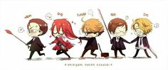 Chibi reapers - Knox is pulling Grell's hair! This is great!