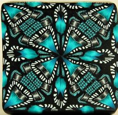 Turquoise and Black Square Kaleidoscope Polymer Clay by ikandiclay,