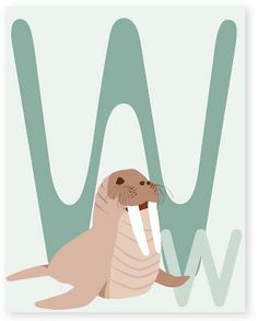 W is for Walrus | Nursery Wall Decor | Modern Wall Art | FORMbaby Nursery Decor