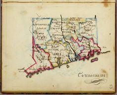 Maps from Frances A. Henshaw's Book of Penmanship Executed at the Middlebury Female Academy April 29, 1828.