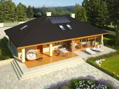 House floor with a loft for later adaptation, basement and a garage for two cars. Modern Bungalow House, Modern House Design, Architecture Design, Apartment Balcony Garden, Modern Mediterranean Homes, House Outside Design, Beautiful House Plans, Rest House, Weekend House