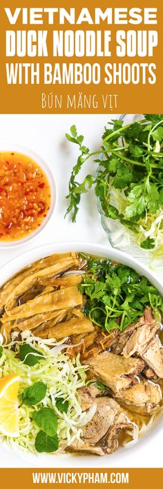 Vietnamese Duck Noodle Soup with Bamboo Shoots (Bun Mang Vit) — Vietnamese Home Cooking Recipes - Vietnamese Recipes - Easy Vietnamese Recipes, Vietnamese Soup, Asian Recipes, Ethnic Recipes, Vietnamese Cuisine, Duck Recipes, Soup Recipes, Cooking Recipes, Noodle Recipes