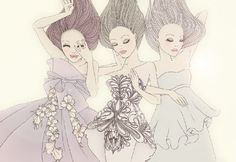 Sweet, innocent and beautiful. Illustration.Files: Fashion Illustrations by Friederich Herman   Draw A Dot.