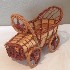 Vintage Brown Wicker Victorian Car Basket Planter