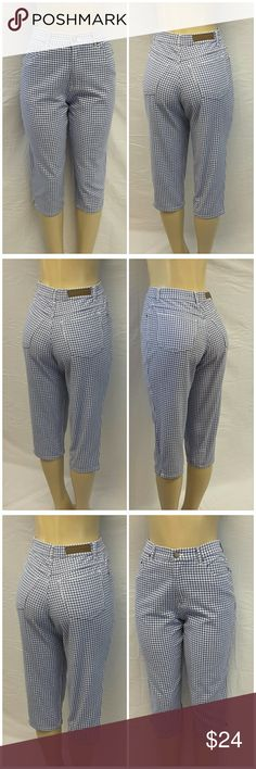"40% BUNDLE DISCOUNT! FREE SHIPPING ON BUNDLES!! BILL BLASS EASY FIT, Denim Capris, size 6 Petite See Measurements, checkered Denim, high waist, medium weight denim material, machine washable, 100% cotton, approximate measurements: 14"" waist laying flat, 19"" inseam, 5.5"" zipper, 12"" rise, 1"" slit vent on hem. ADD TO A BUNDLE!?? 40% BUNDLE DISCOUNT! FREE SHIPPING ON BUNDLES!! ?OFFER? 40% less Plus $6 LESS ON BUNDLES! Bill Blass  Jeans Ankle & Cropped"