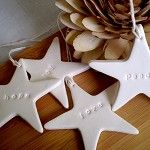 Embossed Christmas Stars (4) - Love Joy Hope Peace - White clay tags - by redpunchbuggy on madeit