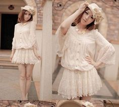 A positive original single snidel sweet princess solid color full lace horn sleeve pleated waist dress - Taobao