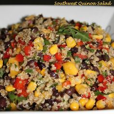 Southwest Quinoa Salad--I used cooked quinoa, bell pepper, corn, beans, and cilantro (would add avocado); dressing was olive oil, garlic, a little bit of onion, cumin, chipotle powder, and splash of cider vinegar