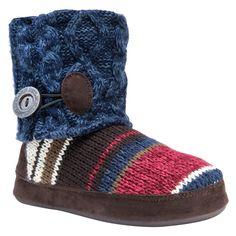 Women's Muk Luks Patti Striped Sweater Knit Bootie Slippers - Navy (Blue) M, Size: Medium