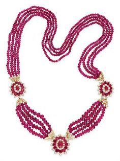 A RUBY BEAD AND DIAMOND NECKLACE, BY VAN CLEEF & ARPELS