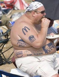 Propaganda in action. The original picture of this man was without a single a tatoo. The artist placed tatoos on him of fast food to comment on what eating fast food can do to you. This is propaganda because its persuasive through the use of falsities. (As is the modern definition of propaganda)