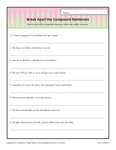 Simple and Compound Sentences Worksheet | Brian study board | Pinterest