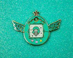 Sailor Neptune Pet // Sailor Moon Inspired Tamagotchi Hard Vintage, Pin, Enamel Pin, Green