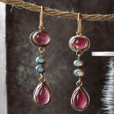 Pink #tourmaline and #opal extremely #handmade earrings #jewelryhandmade #Smycken