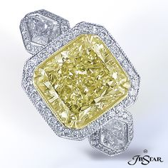 JB Star fancy yellow radiant cut engagement ring.