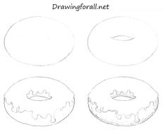 It's DrawingForAll with the new drawing tutorial. Today we will learn how to draw a donut! Doodle Drawings, Doodle Art, Drawing Sketches, Drawing Skills, Drawing Lessons, Donut Drawing, Cupcake Drawing, Cute Easy Drawings, Food Drawing Easy