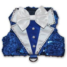 Royal Blue Tuxedo Dog Harness Vest Holiday by OrostaniCouture