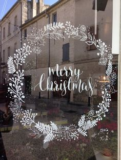 Window Drawing by ML & Co - Christmas - drawing P . - Window Drawing by ML & Co – Christmas – # Window drawing Pinner noel Source no - Christmas Drawing, Christmas Art, All Things Christmas, Christmas Wreaths, Xmas Drawing, Christmas Landscape, Drawing Drawing, Christmas Window Display, Christmas Window Decorations