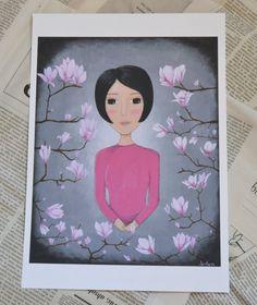Magnolia  Lámina Impresa  Acrílicos sobre por JarilloArtCraft