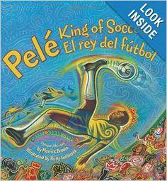 """""""Pele, El rey de futbol"""" cuento por Minoca Brown es un cuento de la vida de Pele. Las ilustraciones son increíbles, con gran detalle siendo abstracto al mismo tiempo. Cada página tiene colores brillantes y diseños intricados de la gente y Brasil. Como las clases bilingüe son de multicultural este libro es una buena pieza de lectura porque habla de la gente Brasil y su cultura. Los niños podrían a relacionar con la cultura."""