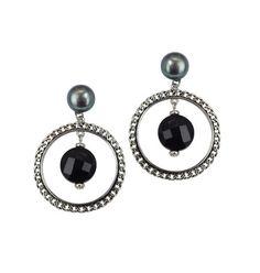 Honora Sterling Silver Black Freshwater Cultured Pearl with Black Onyx Hoop Dangle Earrings. Pearls Measure 9-10mm.http://www.bengarelick.com/collections/honora-pearls/products/honora-sterling-silver-black-freshwater-cultured-pearl-with-black-onyx-hoop-dangle-earrings-pearls-measure-9-10mm