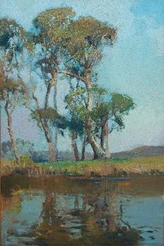 Landscape with Gum Trees by Sydney Long, Australian artist