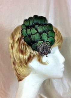 Emerald pheasant feather and bronze peacock hair fascinator clip on Etsy, $25.00