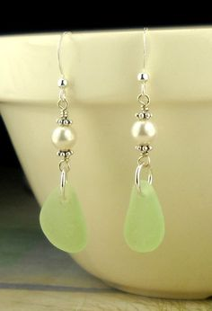 GENUINE Sea Foam Sea Glass Earrings Eco by seaglassgems4you, $48.00