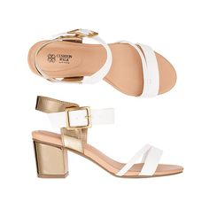"White leatherlike toe strap and metallic goldtone ankle strap and buckle closure. Mirrored, 2 1/2"" H heel.  Half sizes, order one size down. $29.99 Buy Avon Online https://adavis0493.avonrepresentative.com/ #Shoes #Sandals"
