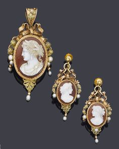 Late Victorian hardstone cameo pendant and earrings.
