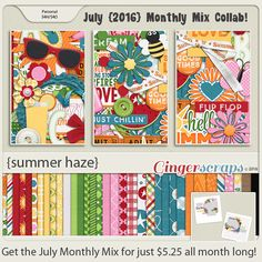 July 2016 Monthly Mix at the Ginger Scraps Store! Father's Day. Summer. Brothers. Sons. Fathers. All the males in your life are meant to be celebrated! On Sale for only $5.25 through July! Summer Haze; http://store.gingerscraps.net/Monthly-Mix-Summer-Haze.html. 07/12/2016