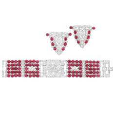 Lot 618 - Art Deco Five Strand Platinum, Diamond and Synthetic Ruby Bead Bracelet and Pair of Clip-Brooches