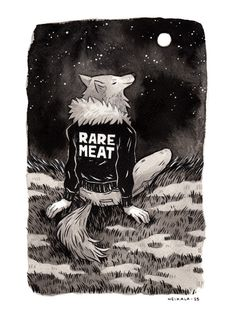 Inktober day 13, A WerewolfI got a lot of request saying they wanted to see a werewolf so here's one now! This one's enjoying the full moon and the starry night sky. I got inspiration for the jacket from Mcbess hoodies.