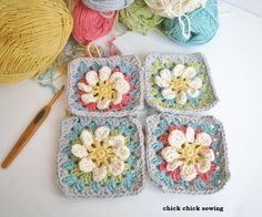 @ chick chick sewing: Pretty flower garden granny squares - free pattern here: http://harujiondesign.blogspot.com.au/2012/05/free-pattern-for-flower-gardan-granny.html