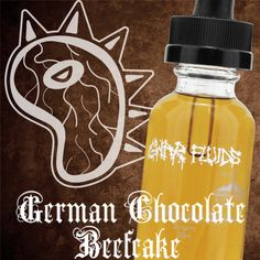 German Chocolate Beefcake. A sweet cake GWAR flavor with the perfect combination of chocolate, coconut, and caramel. This liquid was concocted from an ancient recipe enjoyed by all who reside on the planet Cholesterol.
