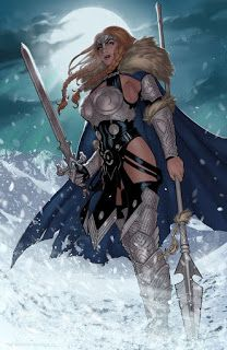Valkyrie print by Zach Fischer Comics and Illustration--The Marvel Comics depiction of Brunnhilde, superhero name Valkyrie. Fantasy Warrior, Fantasy Girl, Chica Fantasy, Fantasy Women, Comic Book Characters, Marvel Characters, Comic Character, Comic Books Art, Fantasy Characters