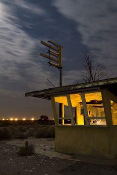 """The Black Widow Snackbar,"" abandoned roadside in Yermo, California.  Photo by Troy Paiva."
