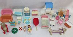Fisher Price Loving Family 1990s Furniture Doll Lot Swing Sled Wreath Hammock  #FisherPrice