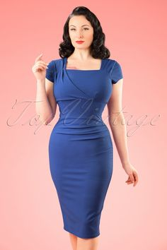 Your presence won't stay unnoticed when wearing this 50s Laila Pleated Pencil Dress!  This killer dress hugs your curves in all the right ways and gives you a stunning hourglass figure, vavavoom! The stunning pleat details at the neckline and hip give her an elegant look and are also super flattering. Made from a stretchy royal blue fabric with the look of Crêpe de Chine for a luxurious touch. Wear it to a business meeting or dress it up for a night out, Laila will make you shi...