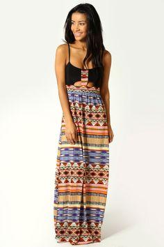 Tribal Print Cut Out Dress