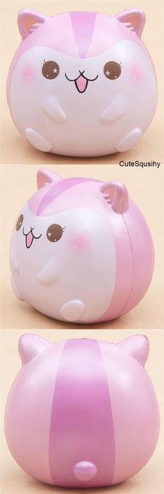 Kawaii pink and magenta metallic hamster squishy!