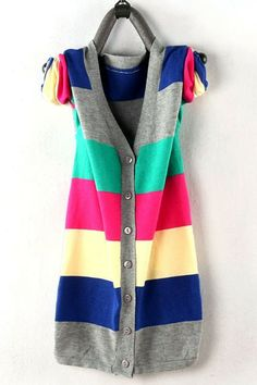 Blouse crafted in cotton, featuring a v neckline with multi color horizontal stripes, long sleeves, button through front closure, all in a slim fit.