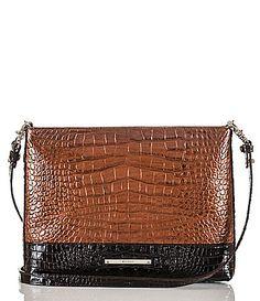 Brahmin Bronze Sienna Collection CrocoEmbossed All Day Convertible CrossBody Bag #Dillards