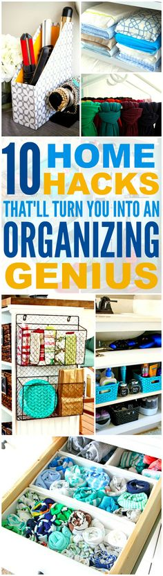 These 10 home hacks that'll made you an organization genius are THE BEST! I'm so happy I found these GREAT tips! Now I can have a cute and organized house! Definitely repinning for later!