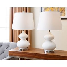 Shop for ABBYSON LIVING Sophia White Glass Table Lamp (Set of 2). Get free delivery at Overstock.com - Your Online Home Decor Shop! Get 5% in rewards with Club O!