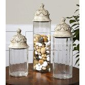 Found it at Wayfair - Acorn 3 Piece Glass Cylinder Canister Set