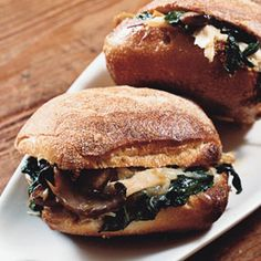Warm Chicken Sandwiches with Mushrooms, Spinach, and Cheese